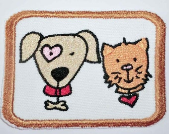 Iron-On Patch - DOG AND CAT