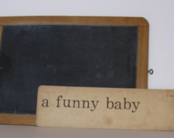 "Vintage Phonics Card  ""A funny baby"", 2 sided, no.5"