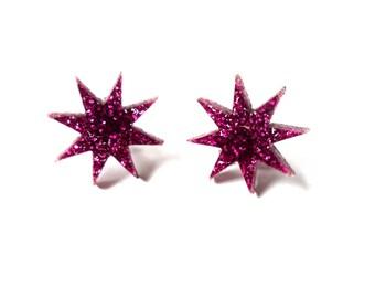 Jem glitter star earrings