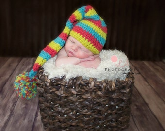 Striped Long Tail Newborn Baby Hat. Green, Blue & Coral Striped Crochet Baby Photo Prop Elf Hat