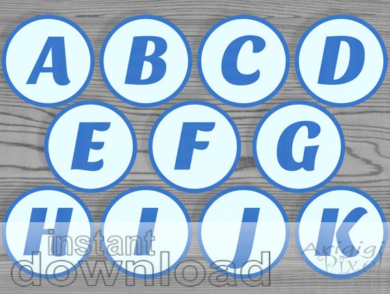 printable blue alphabet number party circles 2.5 in for personalized banner table number DIY party decor download