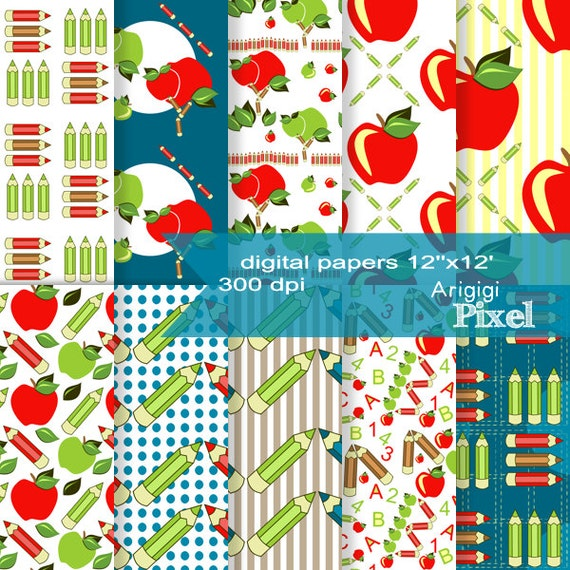 Digital Scrapbooking Papers - Back to School - apples and pencils