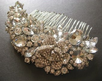 Romantic Moon Rose Swarovski Rhinestone Crystal Wedding Bridal Hair Comb