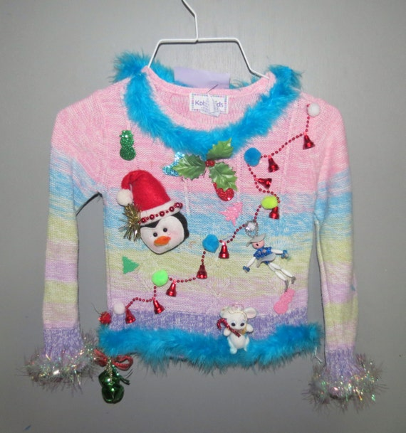 Kids Tacky Ugly Christmas Sweater pullover feathers jingle