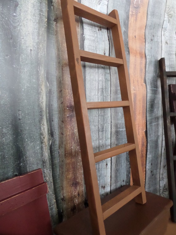 Ladder Decor On Wall : Primitive rustic oak painted ladder home wall decor w