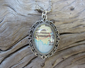 Map of Plymouth, England necklace of in a silver tone setting
