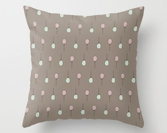 Taupe & Pastel Balloons Pillow Cover, Brown Pink and Mint Balloon Throw Pillowcase