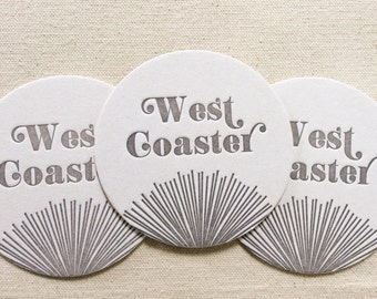 Letterpress Coasters - West Coaster Ready to Ship