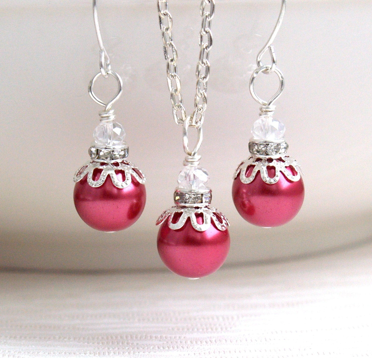 Strawberry pink bridesmaid jewelry set necklace by for Pink wedding jewelry sets