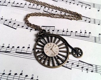 Steampunk necklace - Penny Farthing and vintage watch face in antique bronze