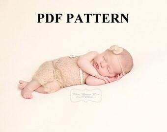 Crochet Pattern - Newborn baby Mohair strapless Romper - PDF