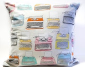 16 x 16 Vintage Typewriters (from Type by Julia Rothman for Windham Fabrics) Pillow Cover