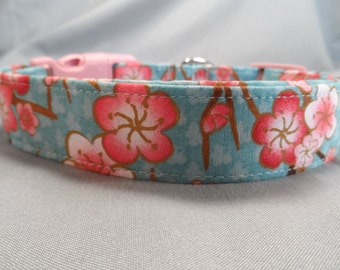 Pink Cherry Blossoms on Blue Dog Collar