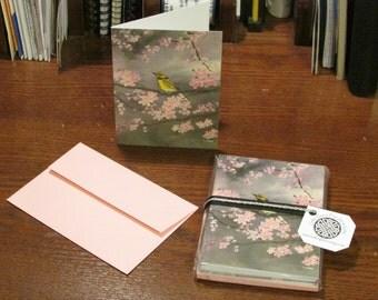 Sakura Notecard Set, set of 8 notecards with matching envelopes