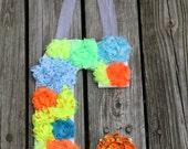 Shabby Chic Flower Initial (Letter C) Turquoise, yellow, orange, neon - Door Hanger