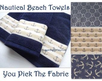 Custom Beach Towels, Anchor, bathroom, beach towels, bathroom hand towels, bath towel sets beach beach decor, anchor decor, towels, bath