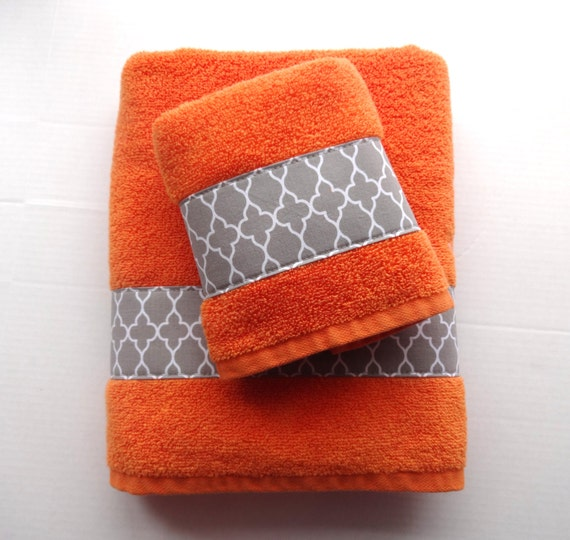 Unavailable listing on etsy for Orange and grey bathroom accessories