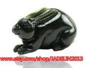 """Free Shipping - natural dark green jade hand-carved """"Rabbit"""" beautiful and good luck amulet necklace / pendant"""