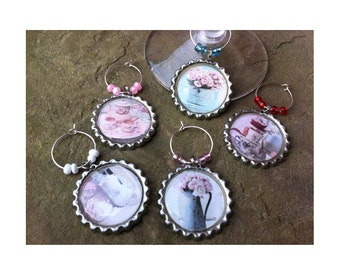 Shabby Chic Wine Glass Charms