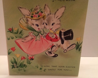 Precious vintage Easter Hallmark card with bunnies 40s or 50s