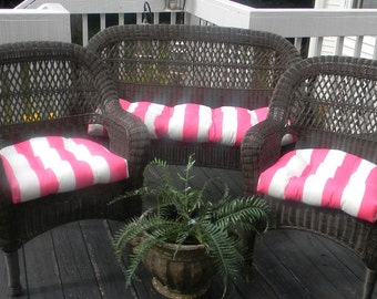 Wicker Cushion 3 Pc Set - Preppy Pink & White Stripe Indoor Outdoor Fabric