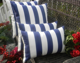 "Set of 4 - Navy Blue White Stripe 20"" Square & Rectangle Lumbar Decorative Pillows"