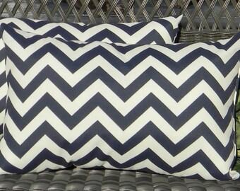 Set of 2 -  Navy / Dark Blue Chevron / Zig Zag Indoor / Outdoor Rectangle / Lumbar Decorative Throw Pillows