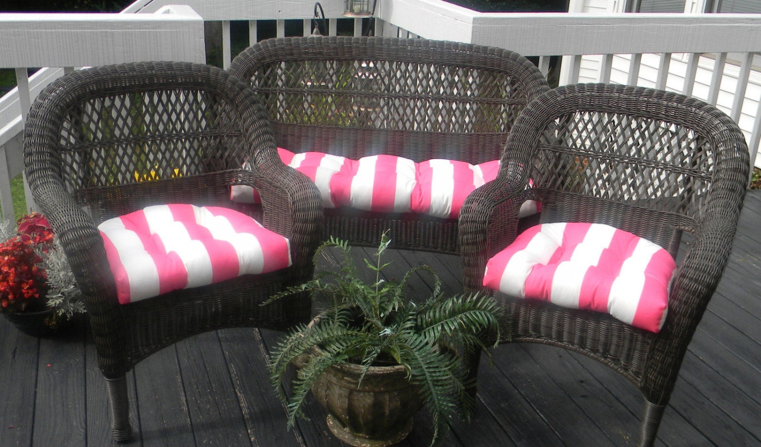 Wicker Cushion 3 Pc Set Preppy Pink Amp White Stripe Indoor