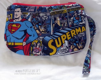 Zippered Wristlet/Clutch in a Great Superman Comics Fabric