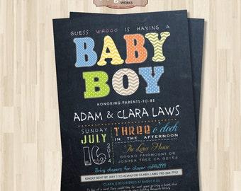 Chalkboard Baby Boy Shower Invitation. DIY card. Digital Printable card.