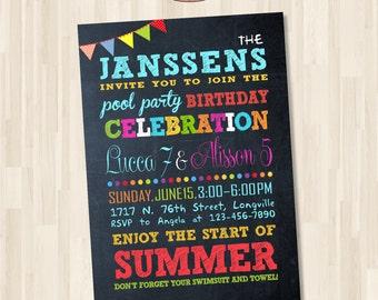 Birthday Party Invitation. End of school party. DIY card. Digital Printable Card