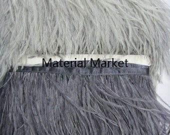 10 yards Light Grey Dark Grey ostrich feather trimming fringe(as picture) on Satin Header 5-6inch in width for Wedding Derss