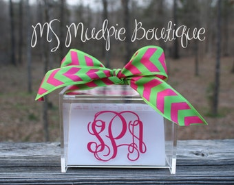 Monogrammed Acrylic Recipe Box with 60 Cards and Dividers, Personalized Recipe Box, Mother's Day Gift