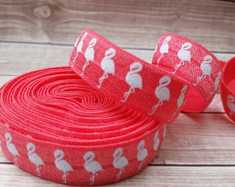 5/8 WATERMELON White  FLAMINGO fold Over Elastic You Choose Color 1, 5 OR 10 yards