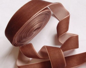 5 yards 3/4 inches Velvet Ribbon in Lt brown RY34-206
