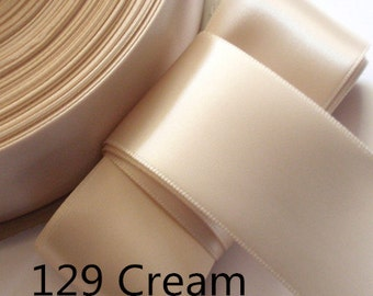 5 yards 2 inches Single Face Satin Ribbon in Creaam DM 20-129