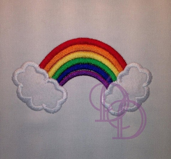Rainbow applique embroidery design in three hoops sizes