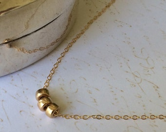 14k Gold Filled Tiny Round Three Bead Necklace, Everyday Necklace, Layering Necklace, Dainty, Triple Ring, Minimalist, Simple Gold Necklace