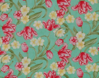 Tulips Anytime - Moda Fabrics by April Cornell - 2 COLOR WAYS- Spring Magic #35130 Booming Soft Pinkish - Red tulips and yellow flowers