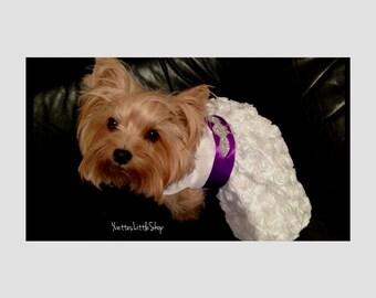 Crystal white wedding couture dog dress (custom color sash)