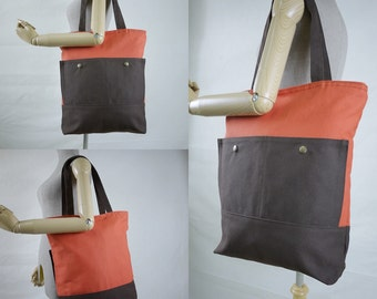 SALE - Hip Boho Burnt Orange & Dark Brown Cotton Canvas Bag Tote/ Shoulder Bag/ Travel Bag/Everyday Bag/ Diapers Bag - B023