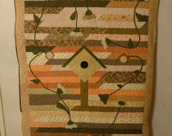 """Quilt or Wallhanging Jelly Roll Birdhouse + Vines 53""""X83"""""""