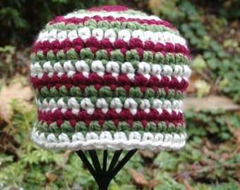 Handmade Holiday Crochet Chunky Beanie Hat in Red, Green and White