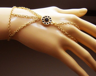 Gold plated slave bracelet, bracelet ring, slave ring, ring connected to bracelet.