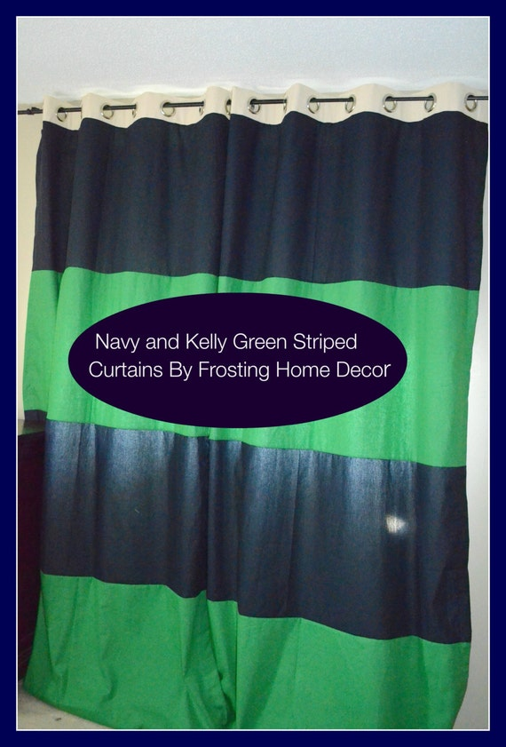 Kelly Green Curtains With Light Gray Grasscloth Walls: One Pair Of Kelly Green And Navy Blue Luxury Custom Striped