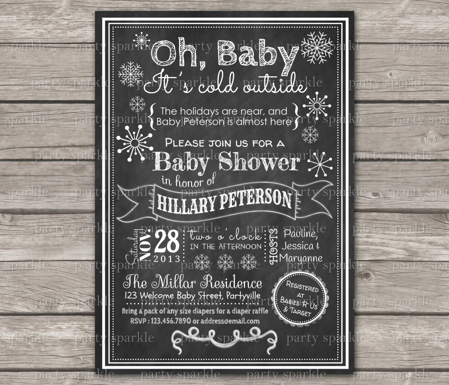 Oh Baby It S Cold Outside Chalkboard Baby Shower Gender