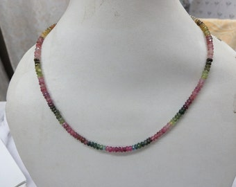 Natural Multy Mix Tourmaline Rondelle Beads Faceted Necklace one string ready to wear with adjustable indian style thread