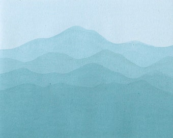 Abstract Nature painting. Blue Mountains. Turquoise abstract painting. Original Watercolor Painting. 8x10