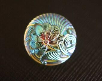 Hand Made Art Czech Glass Buttons Flower Yellow AB size 8'', 18mm, 1pc (BUT164/8)