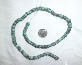 """16"""" Genuine Turquoise Rondelle Disc Beads Full Strand 6 mm Heishi for Necklace Blue"""